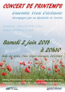 Concert de printemps 2 Juin 2018 à 20h30